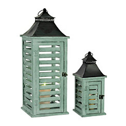 Distressed Green Shutter Lanterns, Set of 2