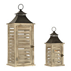 Distressed White Shutter Lanterns, Set of 2