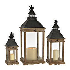 Brown Wood and Galvanized Metal Lanterns, Set of 3