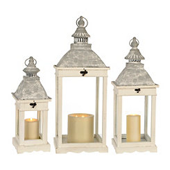 White Wood and Galvanized Metal Lanterns, Set of 3