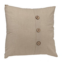 Oatmeal Button Linen Pillow