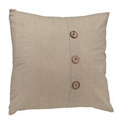 Oatmeal Button Linen Pillow