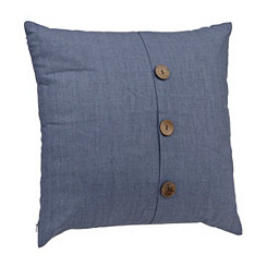 Denim Blue Button Pillow