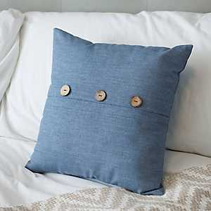 Denim Blue Button Pillow
