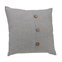 Gray Button Linen Pillow