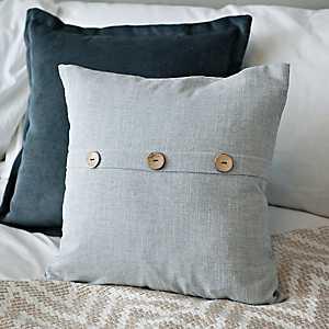 Gray Button Linen Pillow