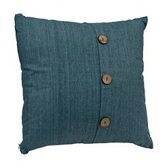Aqua Linen Button Pillow