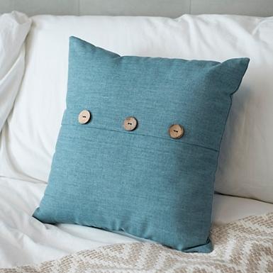 Aqua Linen Button Pillow