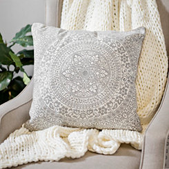 Gray and White Embroidered Medallion Pillow
