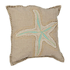 Embroidered Sequin Starfish Pillow