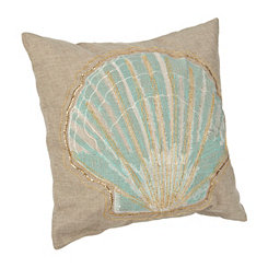 Embroidered Seashell Starfish Pillow