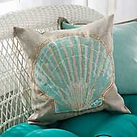 Embroidered Beaded Seashell Pillow