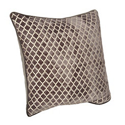 Gray Geometric Velvet Pillow