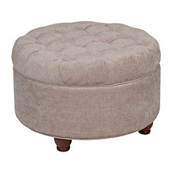 Round Tan Tufted Storage Ottoman