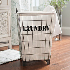 White Lined Wire Laundry Basket
