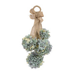 Blue Hydrangea and Burlap Swag