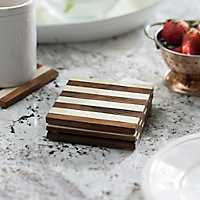 Cream and Brown Stripe Coasters, Set of 4