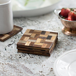 Tonal Wood Checkered Coasters, Set of 4