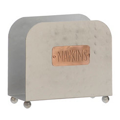 Silver Hammered Tin Napkin Holder