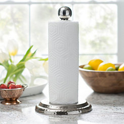 Silver Hammered Tin Paper Towel Holder