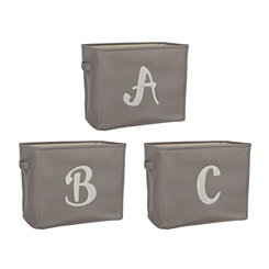 Gray Script Monogram Storage Bins