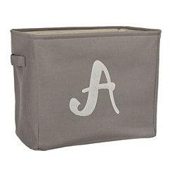 Gray Script Monogram A Storage Bin