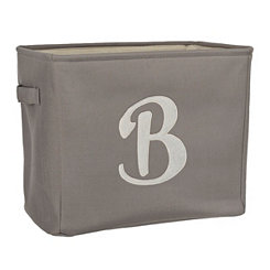 Gray Script Monogram B Storage Bin