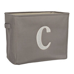 Gray Script Monogram C Storage Bin