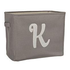 Gray Script Monogram K Storage Bin