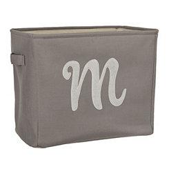 Gray Script Monogram M Storage Bin