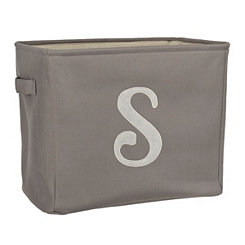 Gray Script Monogram S Storage Bin