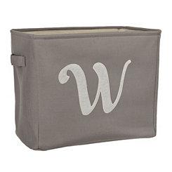 Gray Script Monogram W Storage Bin