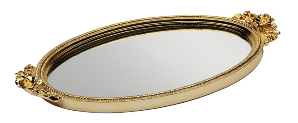 Gold Antique Rose Mirrored Tray