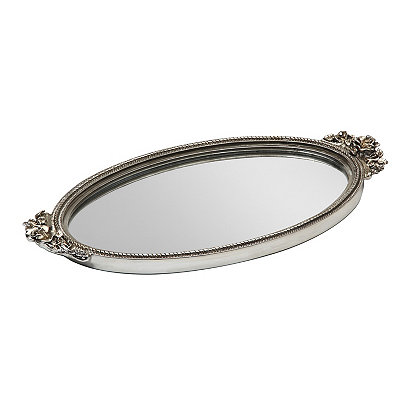 Silver Antique Rose Mirrored Tray