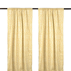 Yellow Maribelle Scroll Curtain Panel Set, 96 in.