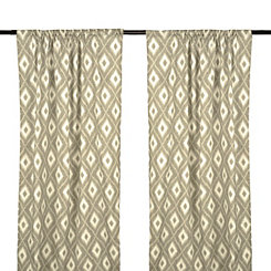 Gray Yasmin Ikat Curtain Panel Set, 96 in.
