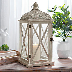 Maggie Antiqued White Scroll Lantern