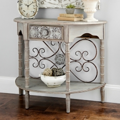 Emily Distressed Demilune Console Table
