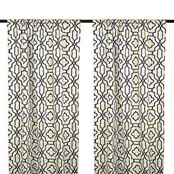 Indigo Chavet Geometric Curtain Panel Set, 96 in.