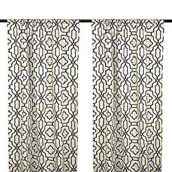 Indigo Chavet Geometric Curtain Panel Set, 108 in.