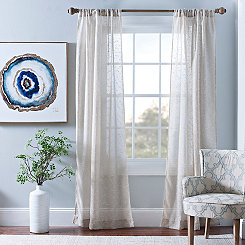 Cleo Natural Dot Curtain Panel Set, 96 in.