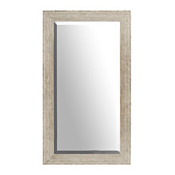 Textured Tan Wood Framed Mirror
