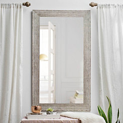 Textured Tan Wood Framed Mirror