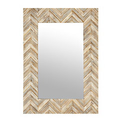 Chevron Wood Framed Mirror