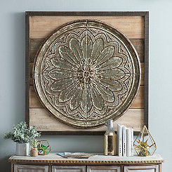 Avery Floral Wood and Metal Wall Plaque