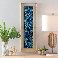 Blue Agate Glass Metal Wall Plaque