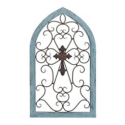 Blue Grace Wood and Metal Cross Plaque