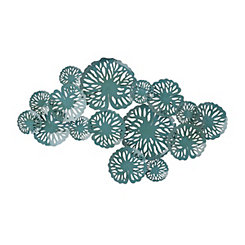 Teal Blue Water Lilies Metal Plaque
