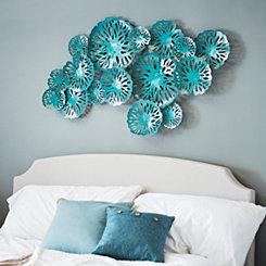 Teal Blue Water Lilies Metal Plaque