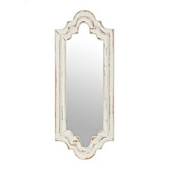 Distressed White Bella Scalloped Mirror